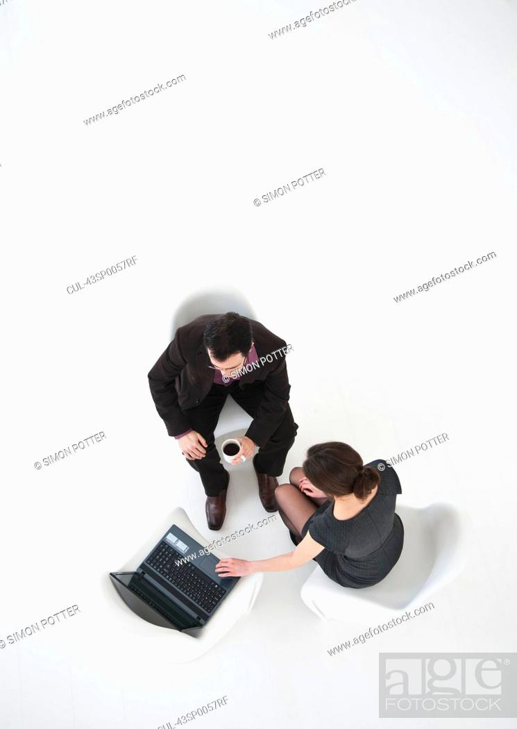 Stock Photo: Aerial view of business people working.