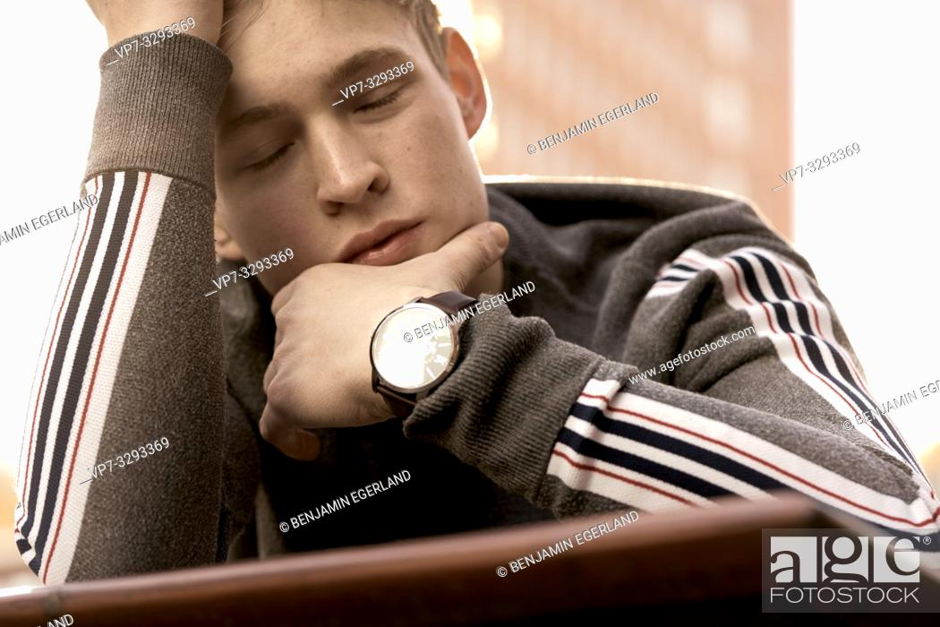 Stock Photo: young model man lost in emotions, in Hamburg, Germany.