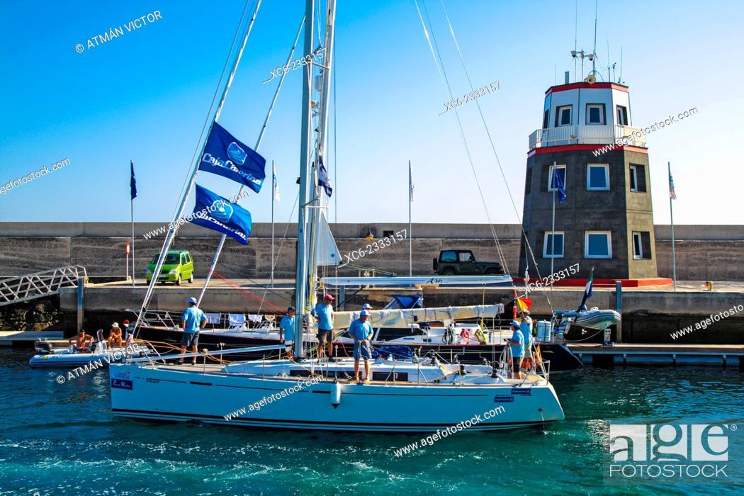 Stock Photo: Marina in Puerto Calero, Lanzarote, Canary Islands, Spain.