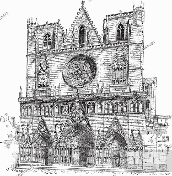 Stock Vector: Lyon Cathedral in Lyon, France, vintage engraving.