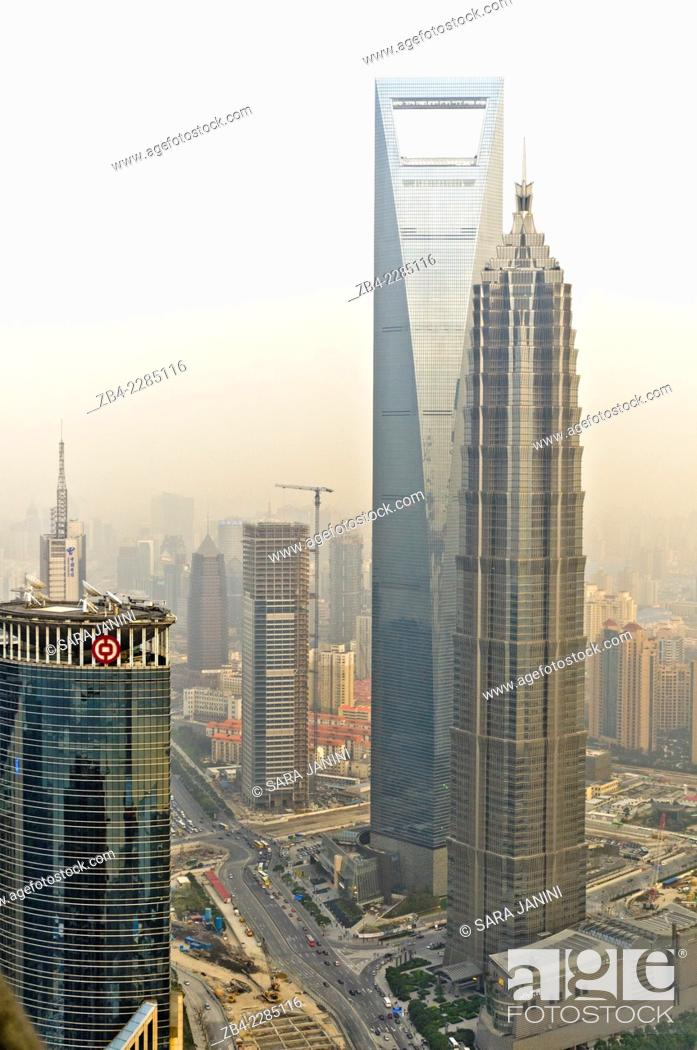 Stock Photo: Left 'World Financial Center' and right 'Jin Mao Tower', View from the Space Module Observation desk at 350 m (1148 ft) of 'Oriental Pearl TV Tower', Pudong.