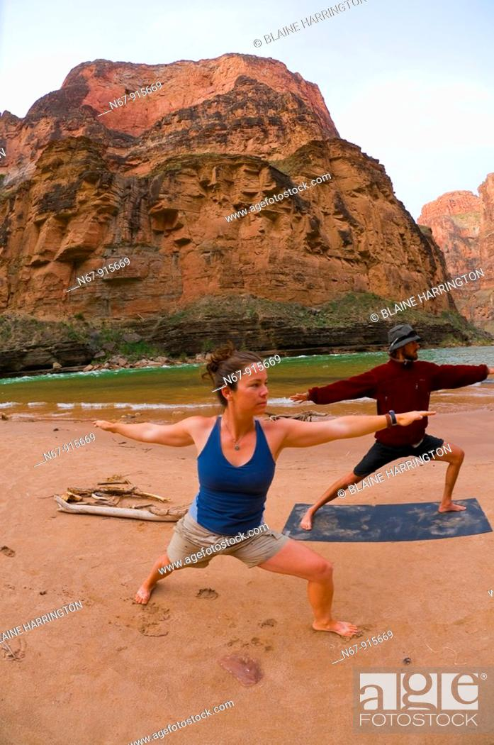 Stock Photo: Doing yoga, Camping at Fern Glen Canyon, Whitewater rafting trip oar trip on the Colorado River in Grand Canyon, Grand Canyon National Park, Arizona USA.