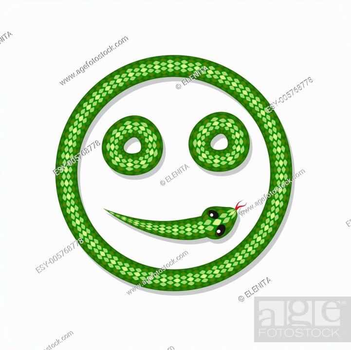 Stock Vector: Snake font. Smiley.