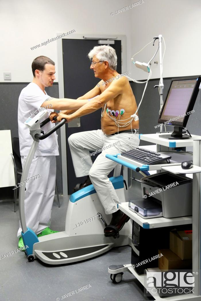 Stock Photo: cardiology stress test, Myocardial perfusion scintigraphy in effort, Nuclear medicine, Onkologikoa Hospital, Oncology Institute, Case Center for prevention.