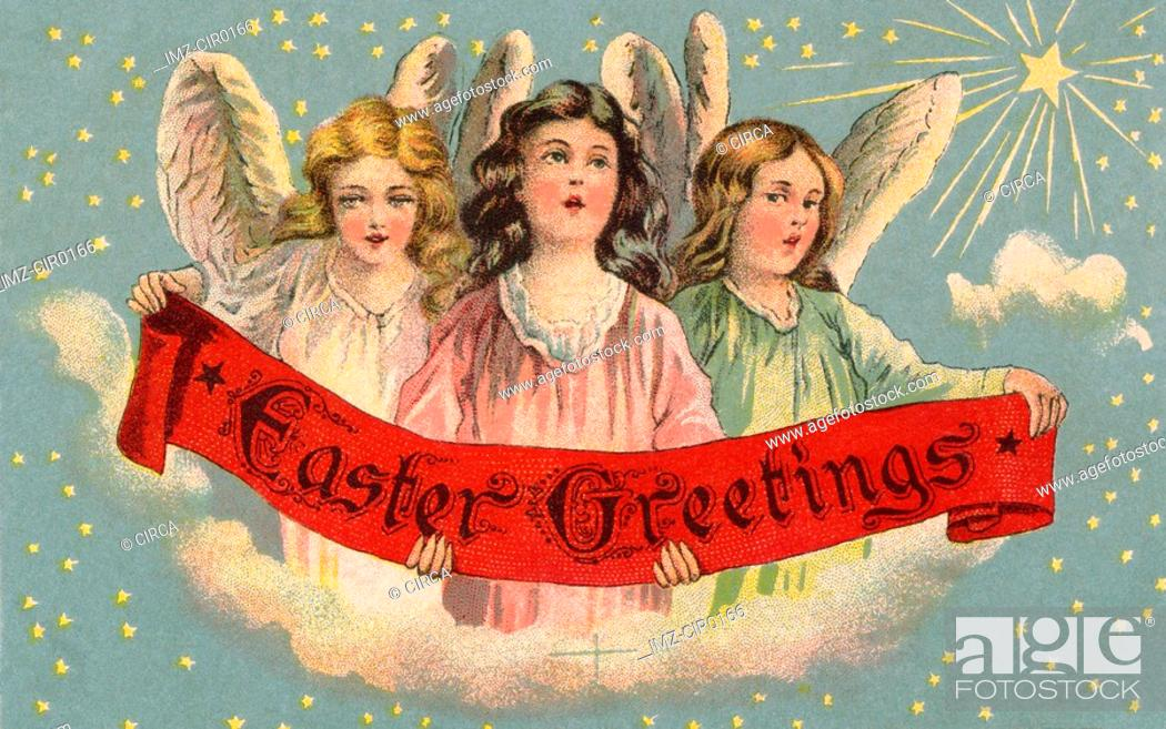 Stock Photo: A vintage Easter postcard of three angels holding a banner.