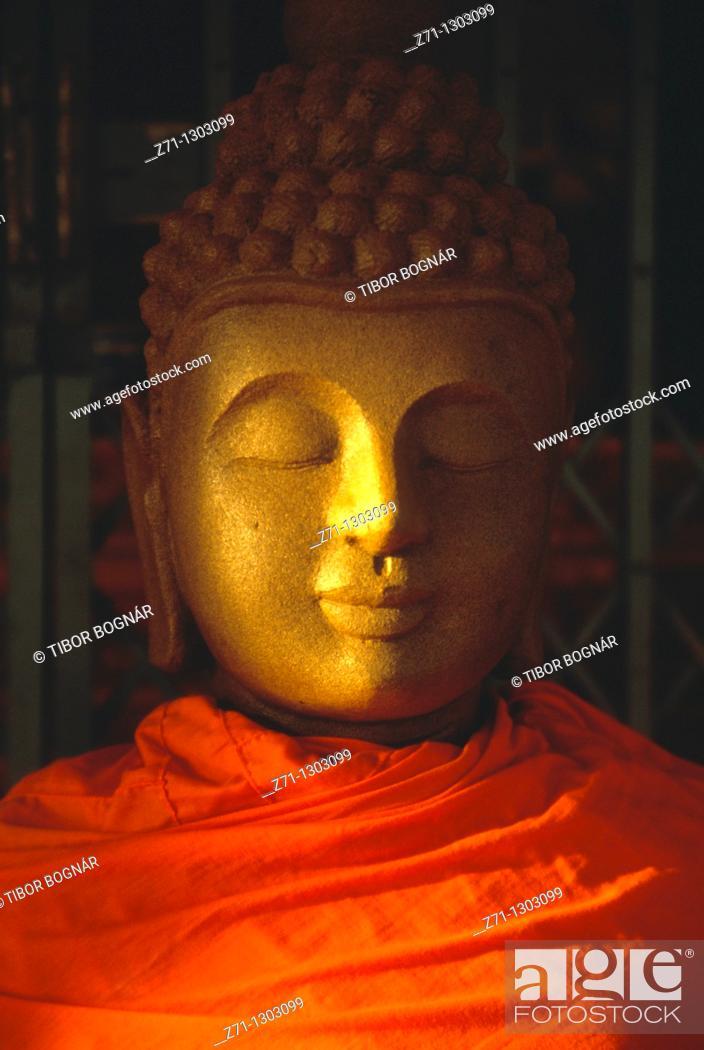 Stock Photo: Laos, Vientiane, Wat That Foun buddhist temple, Buddha statue,.