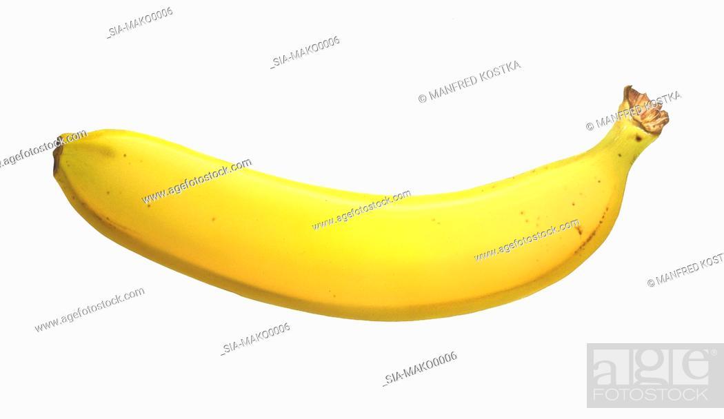 Imagen: Yellow banana, white background.