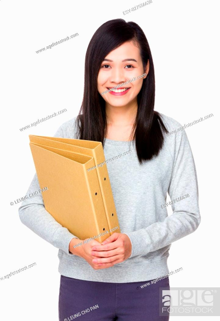 Stock Photo: Woman hold with folder.