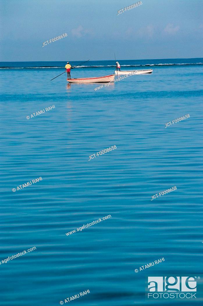 Stock Photo: Mauritius, Trou-aux-biches, fishermen.