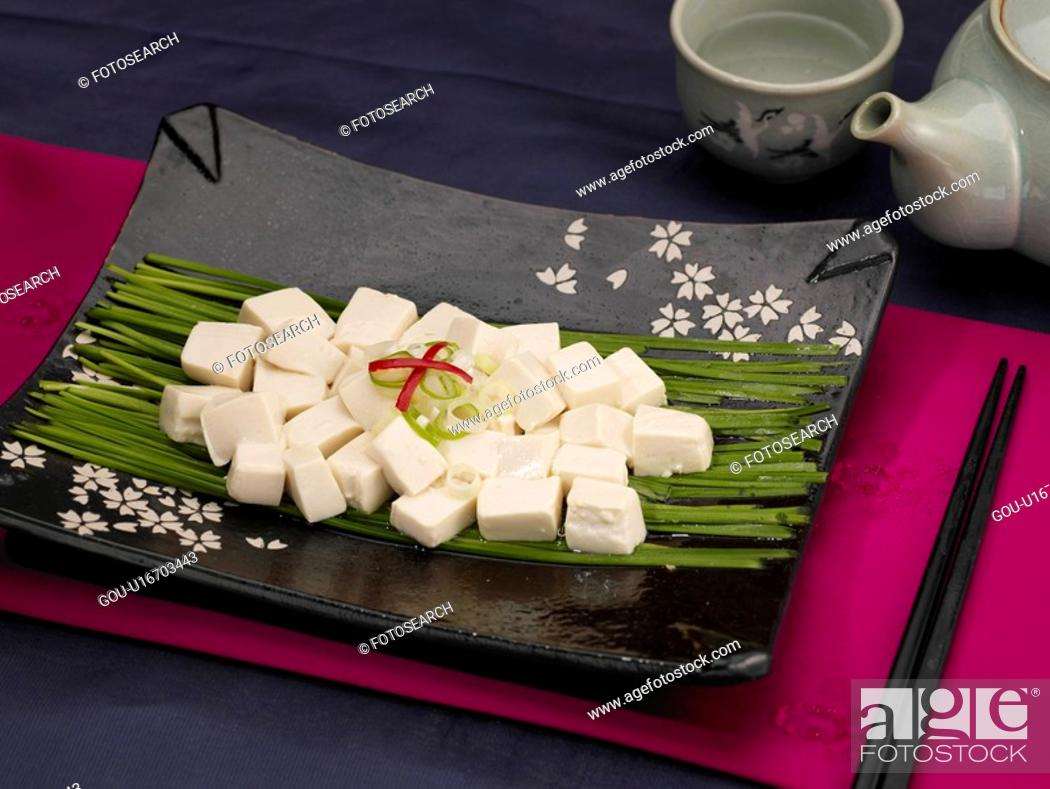 Stock Photo: table napkin, food styling, table mat, tableclothe, decoration, tofu.