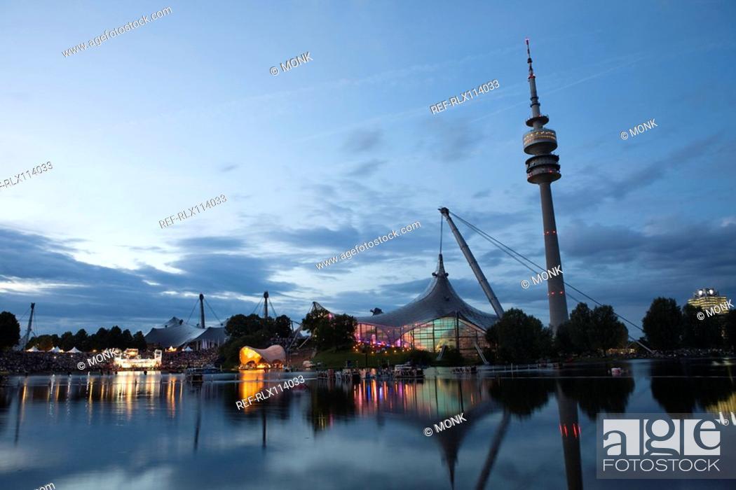 Stock Photo: Olympic stadium and tower at night, Munich, Bavaria, Germany.