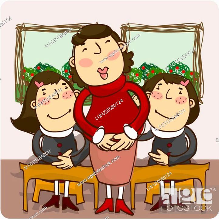 Stock Photo: girls, female, teacher, girl, student, woman.