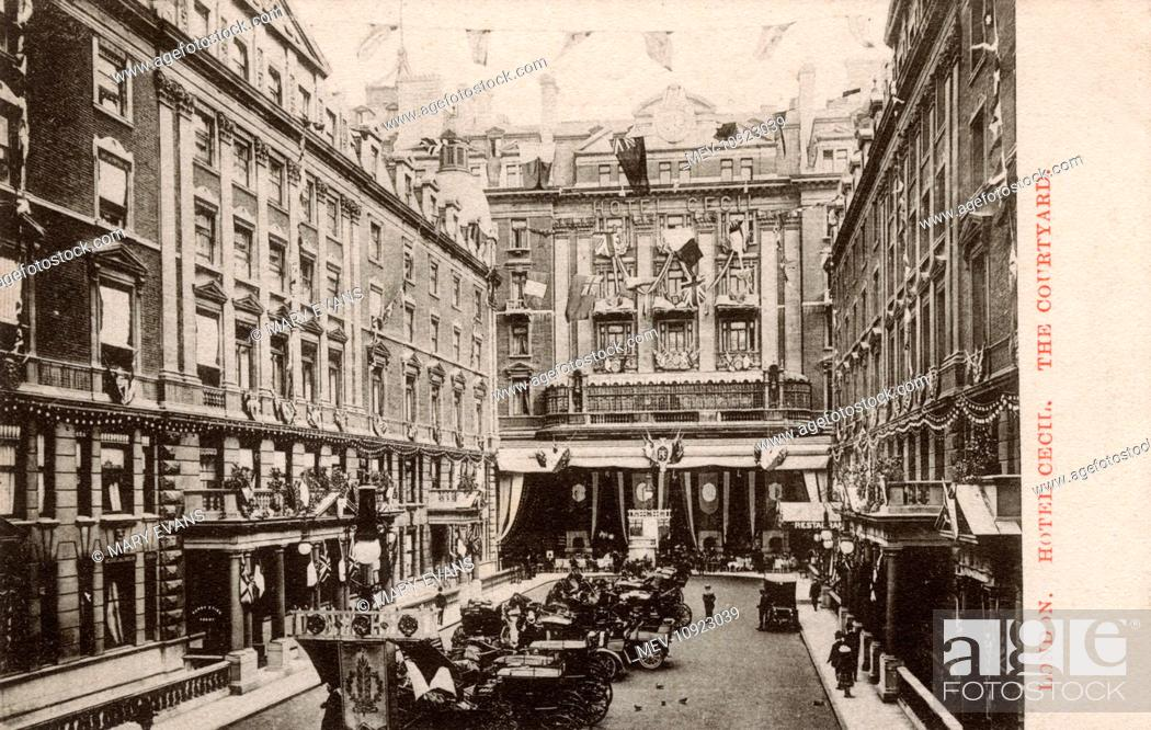 Stock Photo: The Cecil Hotel, London - entrance courtyard (similar in style to (and possibly influenced by) The Savoy).