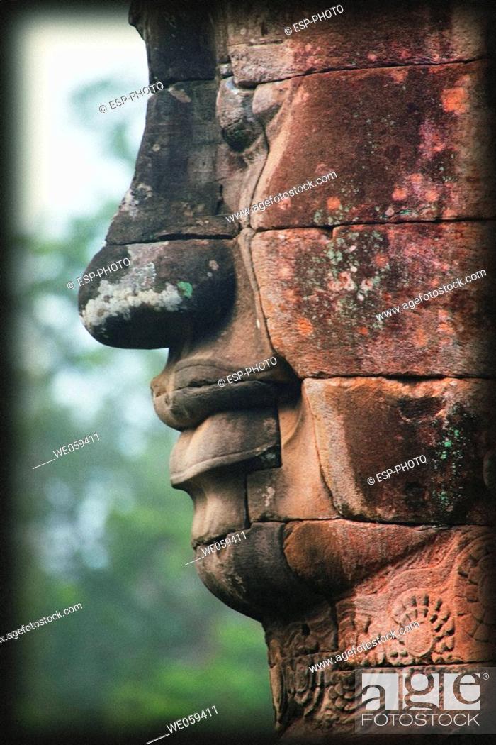 Stock Photo: Stone head, Bayon Temple, Angkor Thom, Siem Reap, Cambodia.