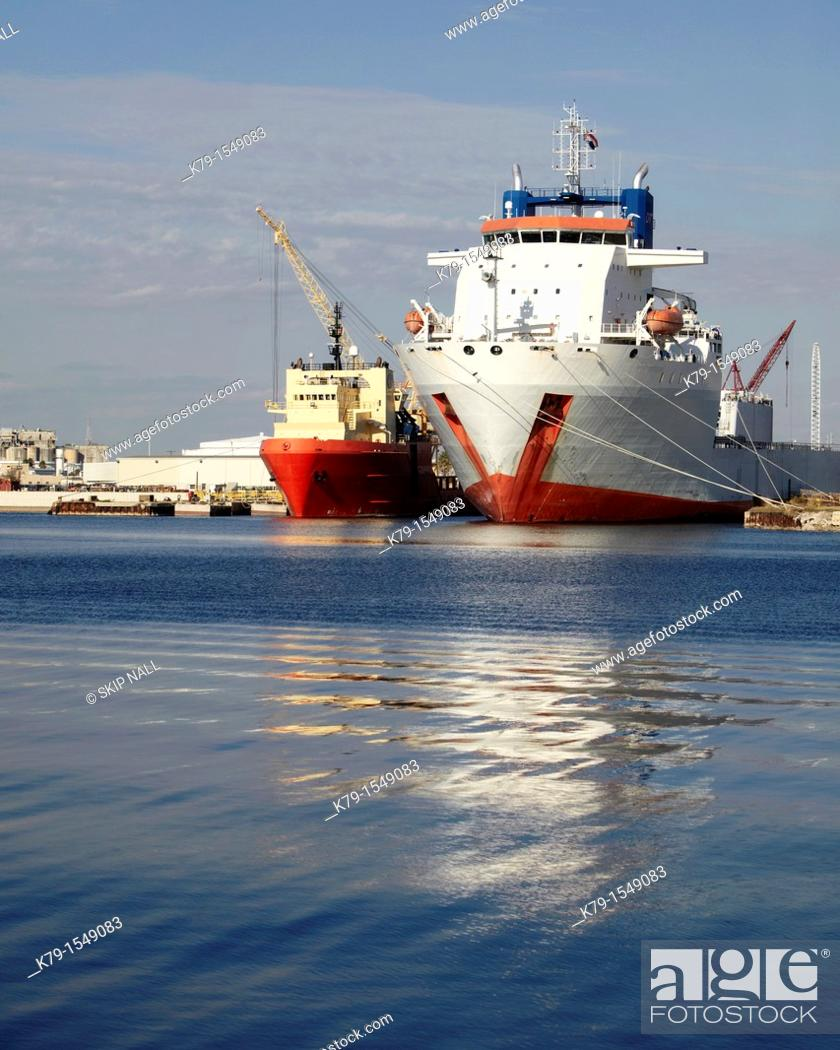 Stock Photo: Ship used to transport yachts at a shipyard in Tampa, Florida.