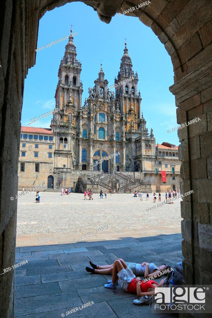 Stock Photo: Catedral, Praza do Obradoiro, Santiago de Compostela, A Coruña province, Galicia, Spain.