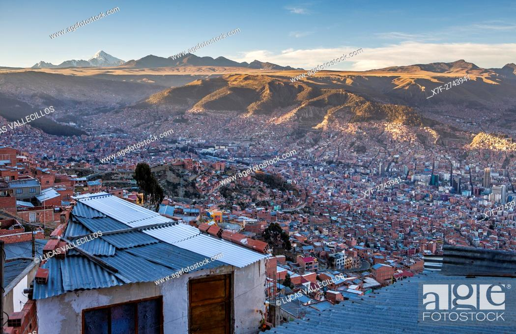 Stock Photo: Panoramic view of La Paz, from El Alto, in background Los Andes mountains, La Paz, Bolivia.