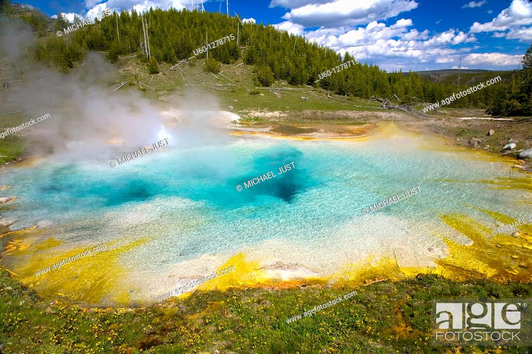 Stock Photo: The Imperial Hot Spring near the Midway Geyser Basin at Yellowstone National Park, Wyoming.