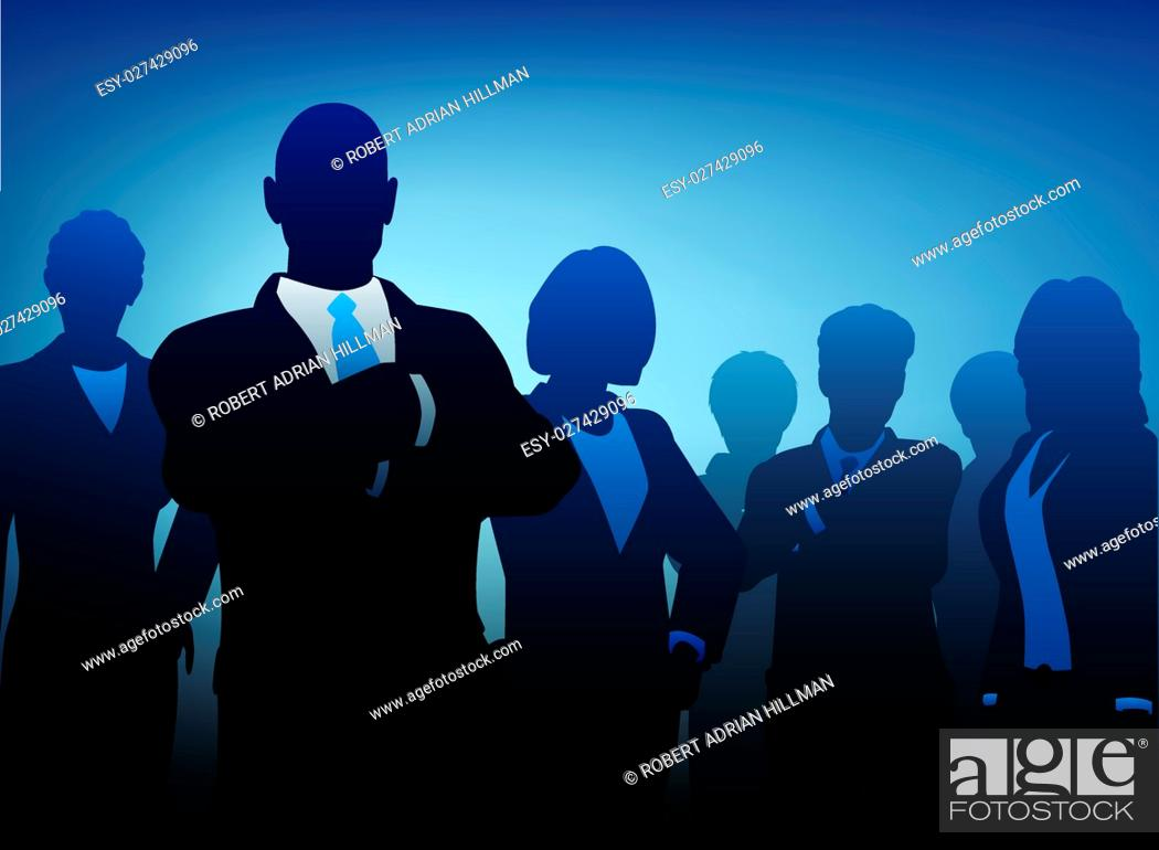 Vecteur de stock: Editable vector illustration of silhouettes of a business team.