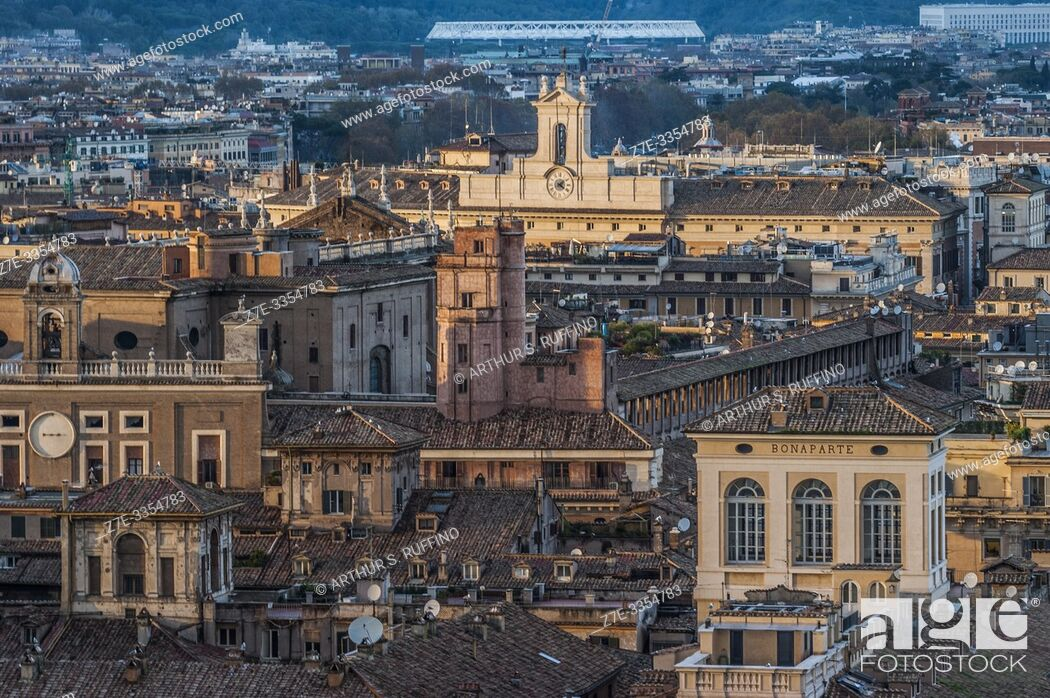 Stock Photo: Rome during the sunset hours. Panorama from the viewing terrace of the Victor Emmanuel II Monument (Monumento Nazionale a Vittorio Emanuele II).