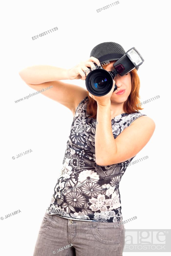 Stock Photo: Portrait of young female photographer, isolated on white background.
