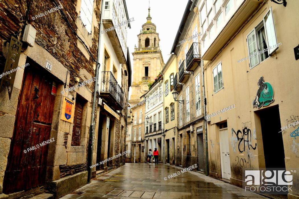 Stock Photo: Street in the old city of Lugo, Spain.