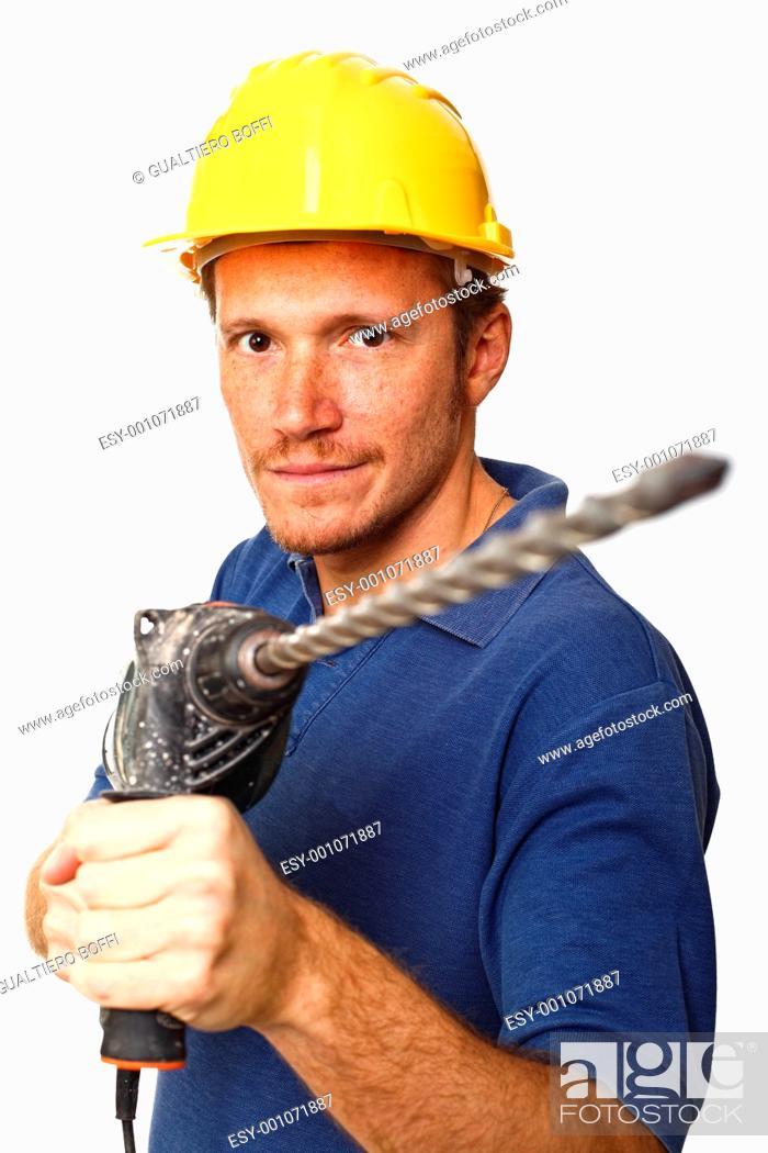 Stock Photo: construction worker portrait.