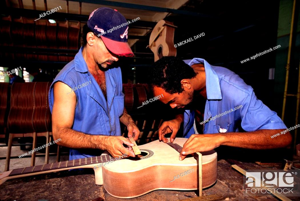 Stock Photo: Cuba - The Havana - Music Instruments Factory.