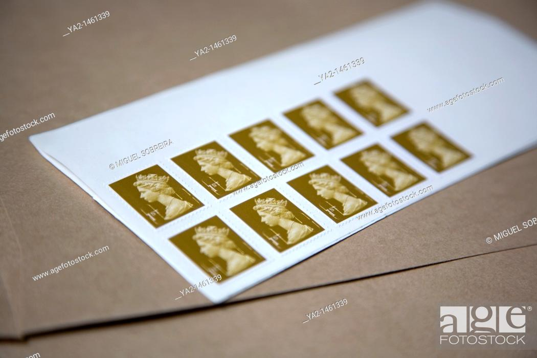 Stock Photo: Set of 10 first class stamps UK.