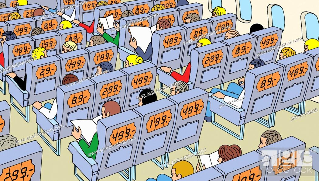 Stock Photo: People on aeroplane all paying different fares for seats.