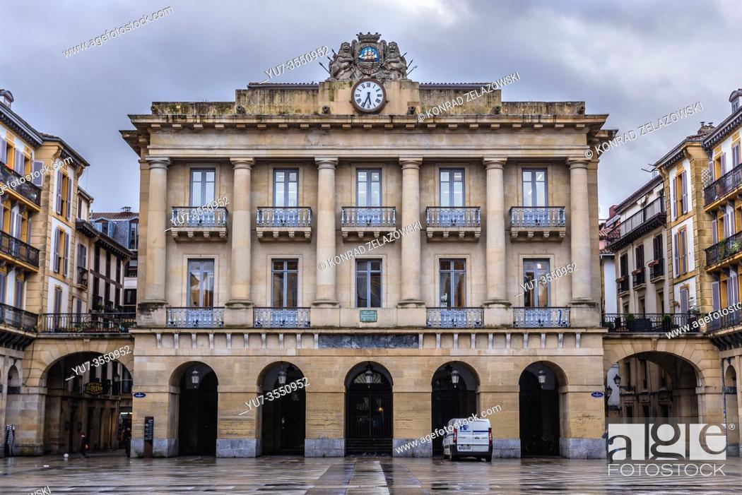 Stock Photo: Buildings on Constitucion Plaza in San Sebastian coastal city located in the Basque Autonomous Community, Spain.