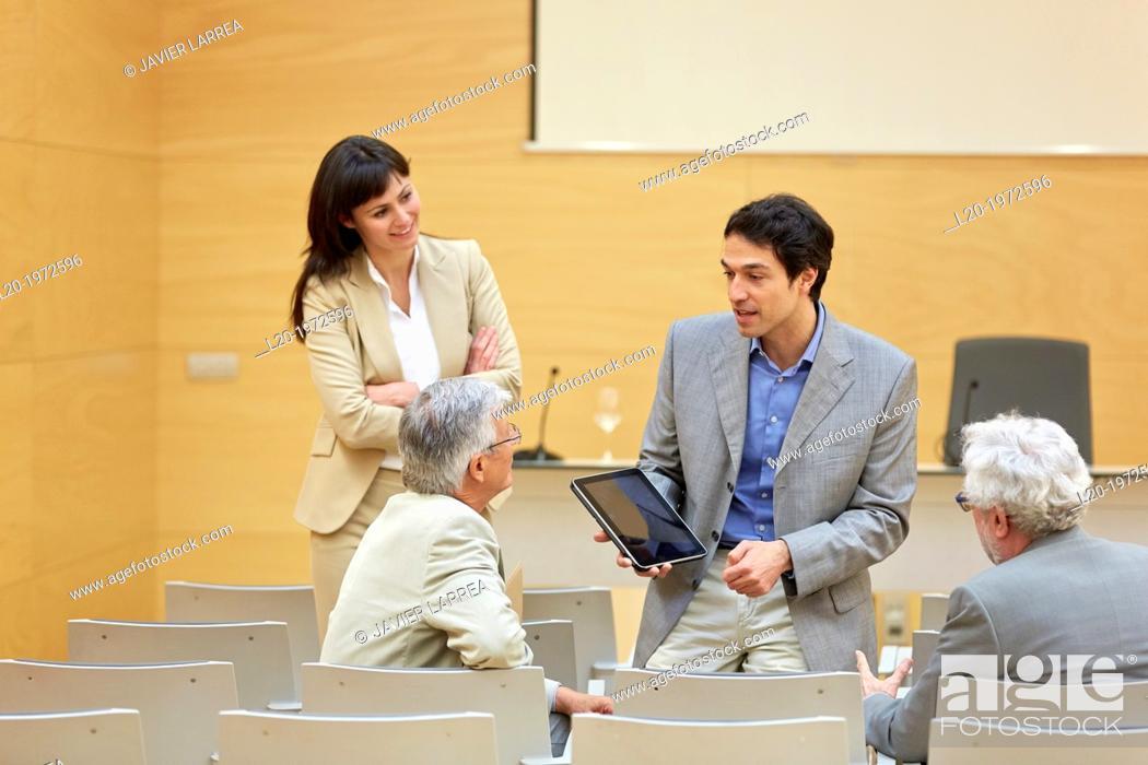 Stock Photo: Executives at Convention Centre, Coaching, Business, Donostia, San Sebastian, Basque Country, Spain.