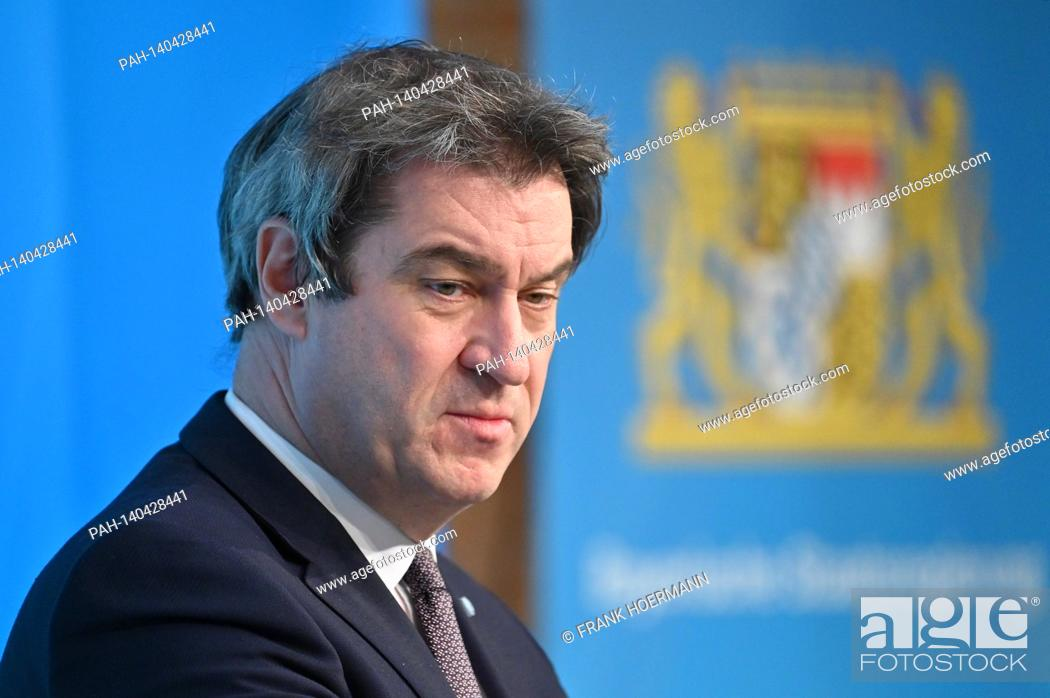 Imagen: Markus SOEDER (Prime Minister Bavaria and CSU Chairman), single image, trimmed single motif, portrait, portrait, portrait press conference of the Bavarian State.