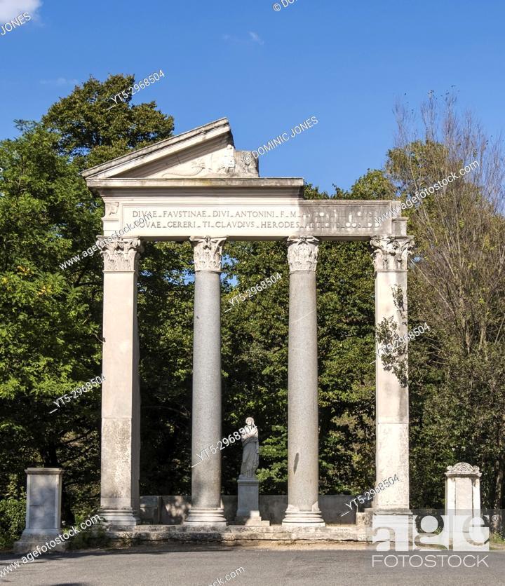 Stock Photo: Replica Roman Ruins built in the 18th Century , Villa Borghese Gardens, Rome, Italy, Europe.
