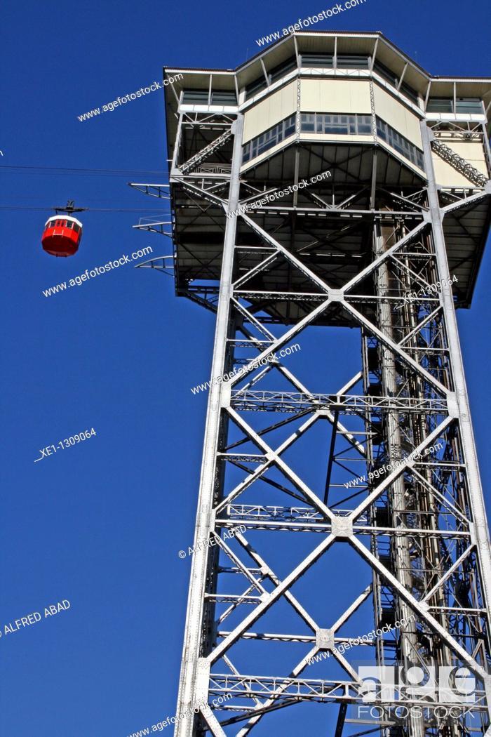 Stock Photo: Aerial tramway, Port Vell, Barcelona, Catalonia, Spain.
