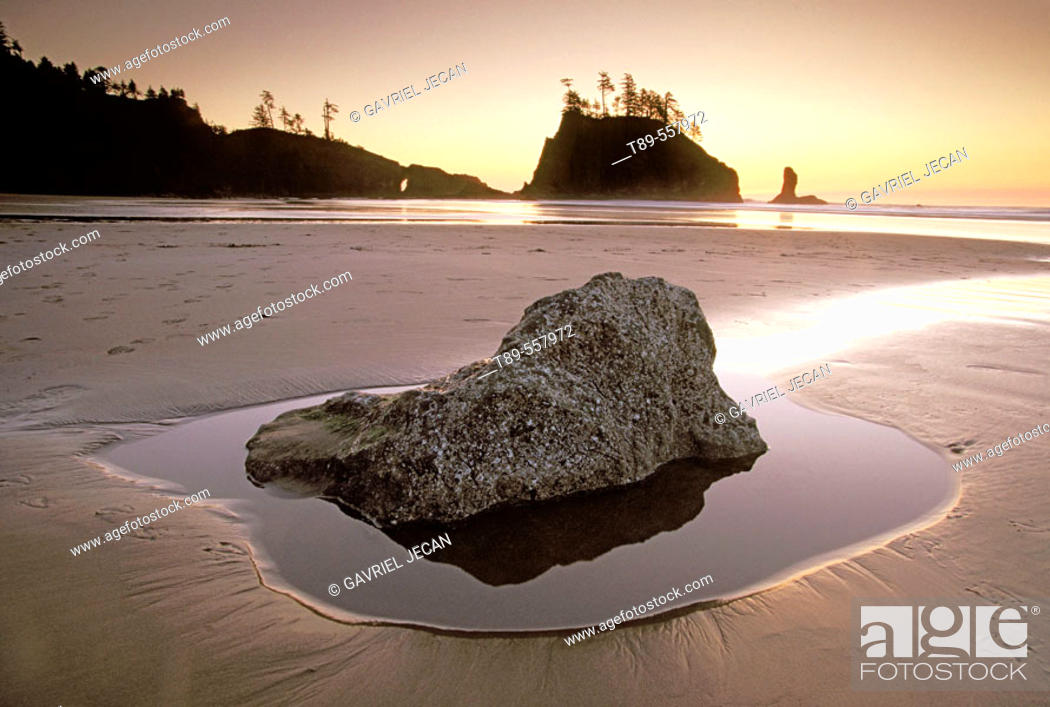 Stock Photo: USA , Washington , Olympic National Park, Second Beach.