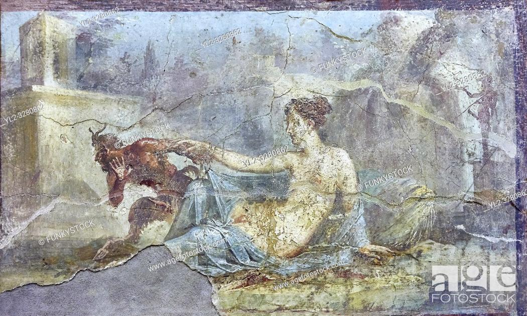 Stock Photo: Pan and Hermaphrodite, a Roman erotic fresco painting from Pompeii, 50-79 AD , inv no 27700 , Naples National Secret Museum or Secret Cabinet.
