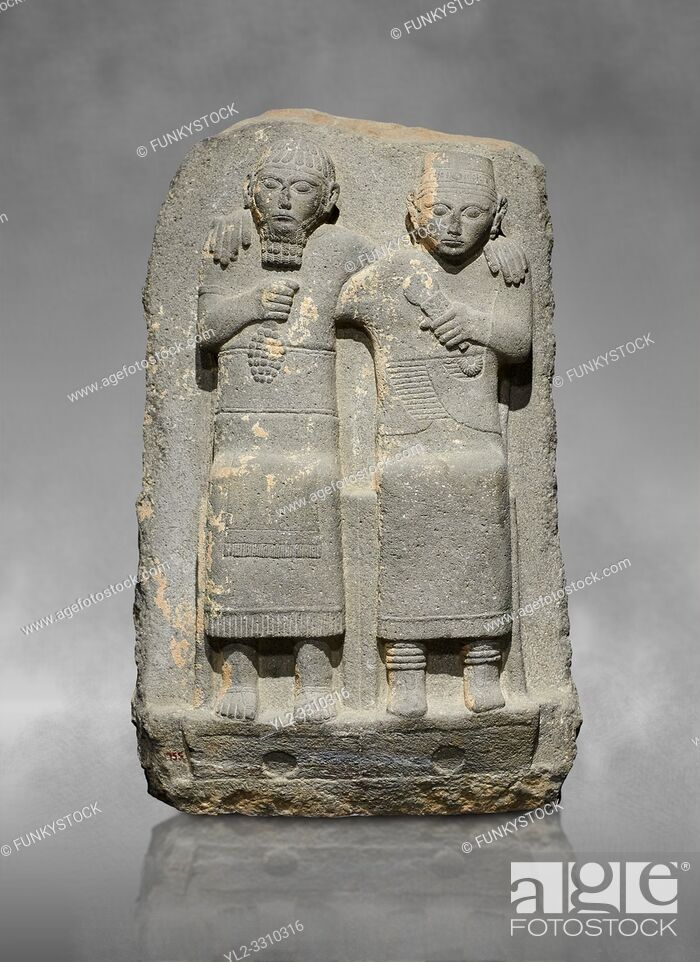 Stock Photo: Hittite monumental relief sculpture of of two seated figure, not a typical Hittite style with a lot of other influences. Late Hittite Period - 900-700 BC.