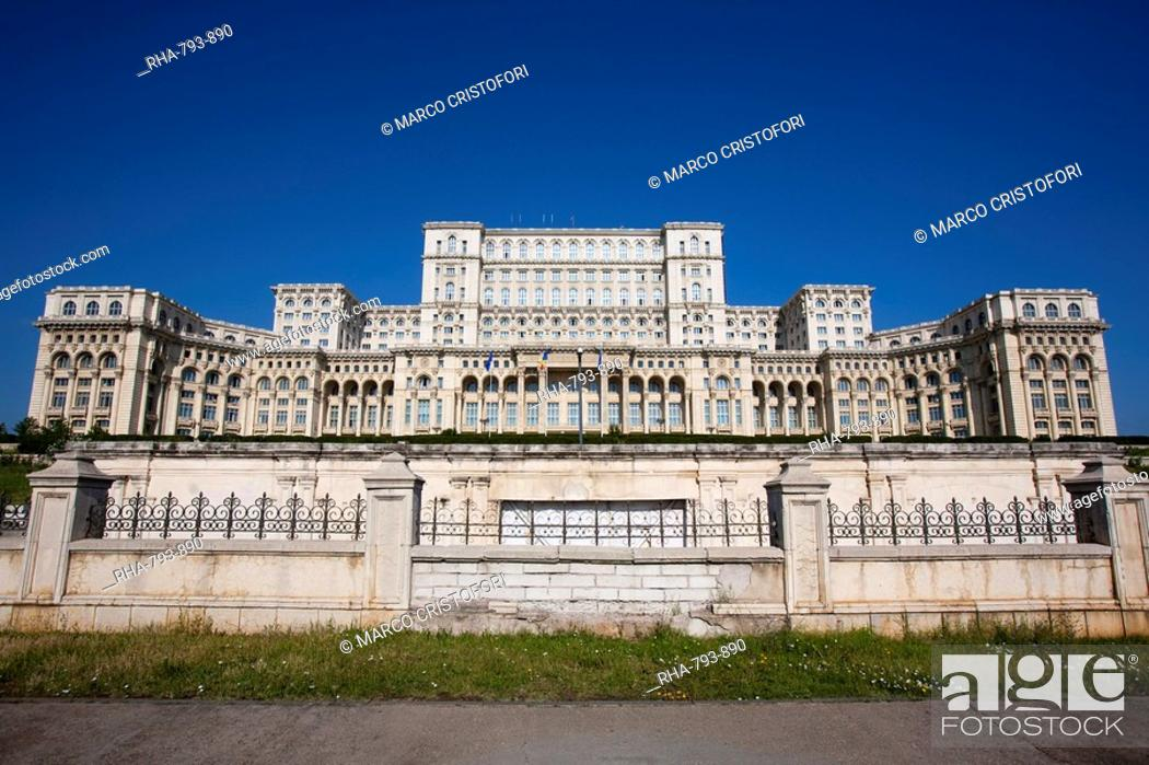 Stock Photo: Palace of Parliament, former Ceausescu Palace, Bucharest, Romania, Europe.
