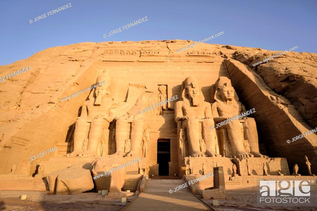 Stock Photo: Entrance of the main temple of Abu Simbel at sunrise.
