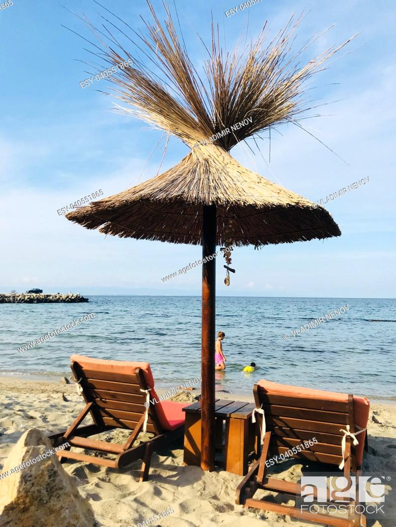 Stock Photo: Pomorie, Bulgaria - View of the people spending time on the beach.