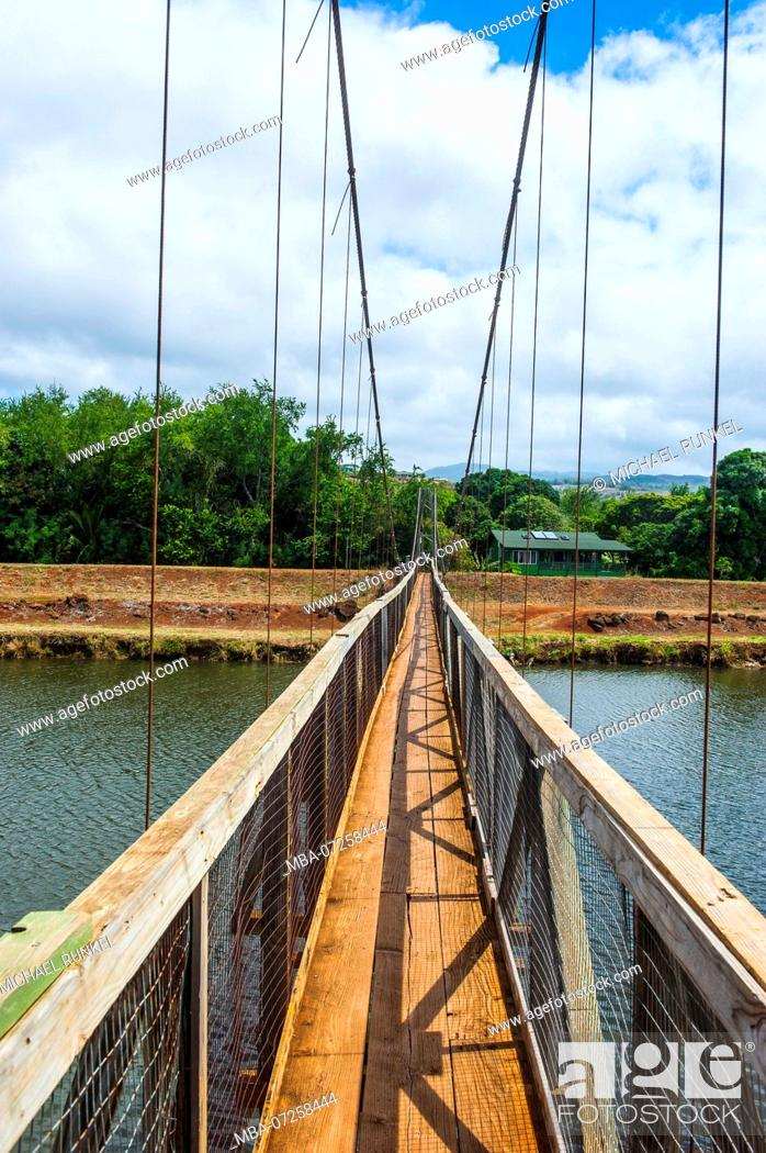 Hanapepe Swinging Bridge Kauai Hawaii Stock Photo