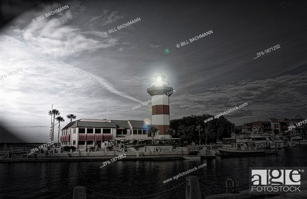 Stock Photo: Beautiful resort town and harbour with historical lighthouse in Hilton Head South Carolina USA.