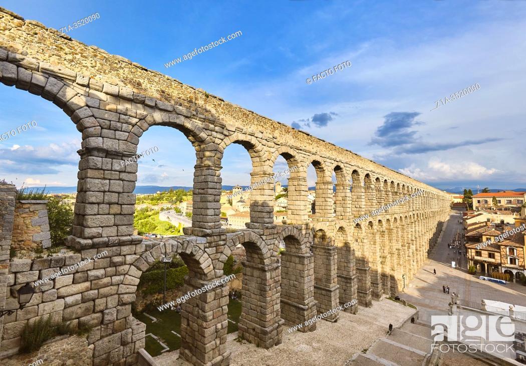 Stock Photo: The Roman aqueduct. UNESCO World Heritage Site. Segovia. Castile and Leon. Spain.