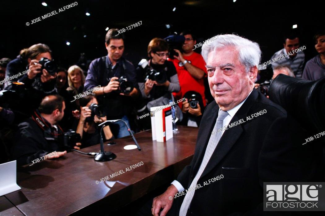 Stock Photo: Mario Vargas Llosa, Nobel Literature 2010 Madrid 03/11/2010.