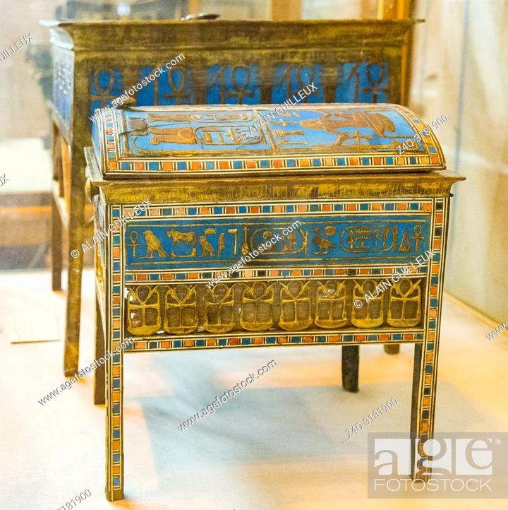 Stock Photo: Egypt, Cairo, Egyptian Museum, from the tomb of Yuya and Thuya in Luxor : Wooden and gilded jewel box, with the cartouches of king Amenhotep III.