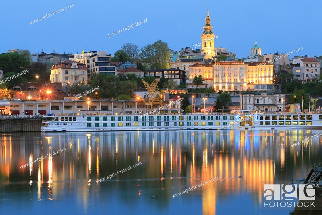 Stock Photo: Belgrade at Dusk as Seen from Sava River, Serbia.
