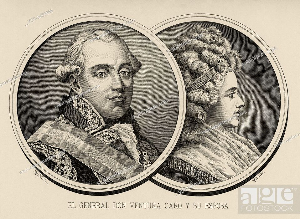 Photo de stock: Portrait of captain general Ventura Caro and Maza de Linaza (Valencia, 1742 - Madrid, 1809), Spanish military and his wife.