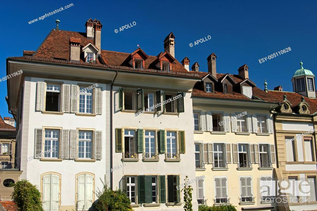Stock Photo: Representative apartment houses in the old town of Bern, Switzerland.