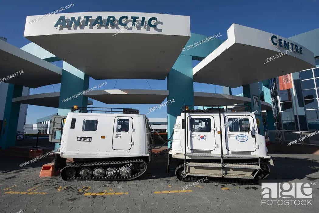 Stock Photo: Hagglund vehicles at entrance, Antarctic Centre, Christchurch, Canterbury, South Island, New Zealand.